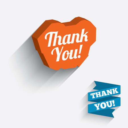 thanks a lot: Thank you sign icon. Customer service symbol. White icon on orange 3D piece of wall. Carved in stone with long flat shadow. Vector