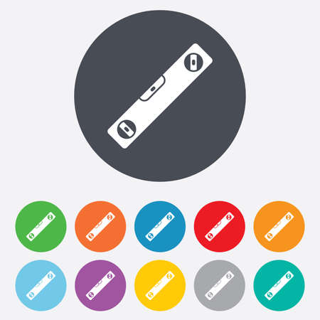 bubble level: Bubble level sign icon. Spirit tool symbol. Round colourful 11 buttons.