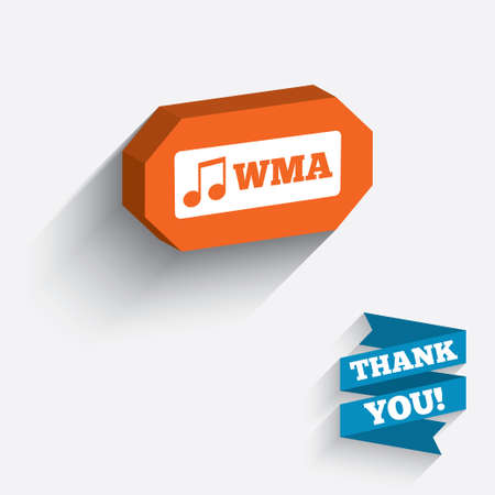 Wma music format sign icon. Musical symbol. White icon on orange 3D piece of wall.  Vector