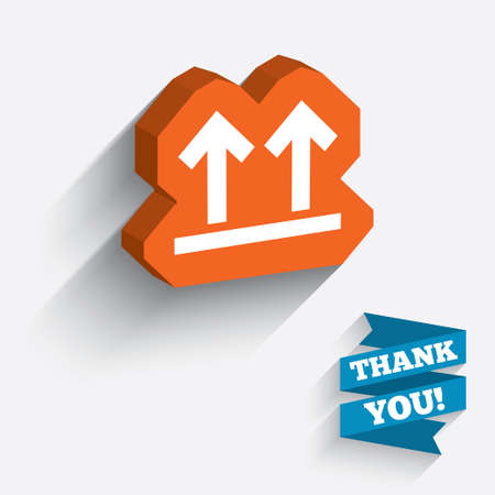This side up sign icon. Fragile package symbol. Arrows. White icon on orange 3D piece of wall. Carved in stone with long flat shadow.  Vector