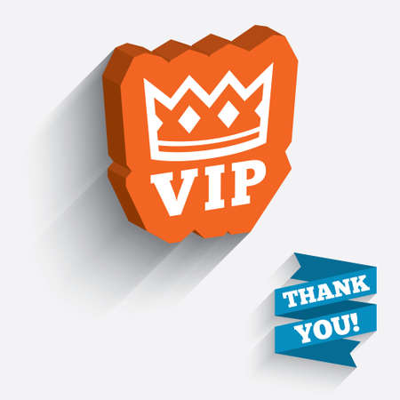 very important person sign: Vip sign icon. Membership symbol. Very important person. White icon on orange 3D piece of wall. Carved in stone with long flat shadow. Vector
