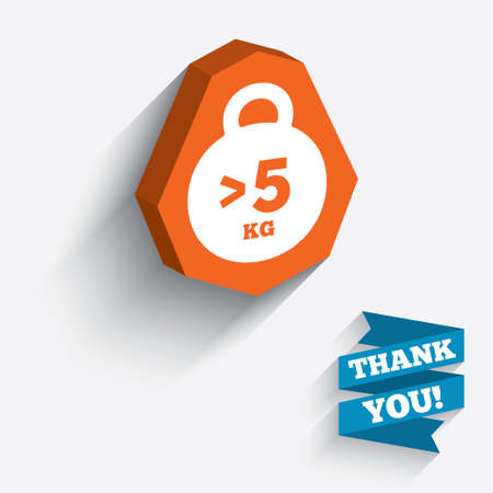 than: Weight sign icon. More than 5 kilogram (kg). Sport symbol. Fitness. White icon on orange 3D piece of wall. Carved in stone with long flat shadow. Vector