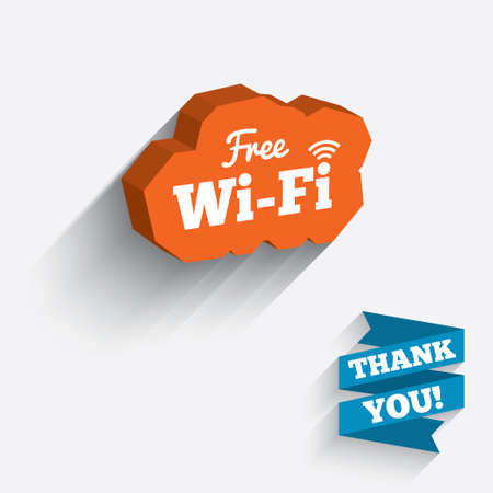 Free wifi sign. Wifi symbol. Wireless Network icon. Wifi zone. White icon on orange 3D piece of wall. Carved in stone with long flat shadow. Vector Vector