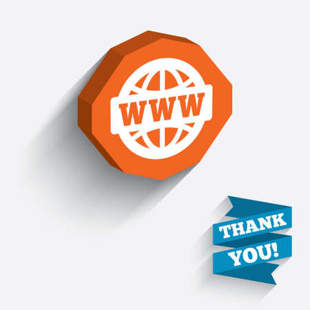 www at sign: WWW sign icon. World wide web symbol. Globe. White icon on orange 3D piece of wall. Carved in stone with long flat shadow. Vector