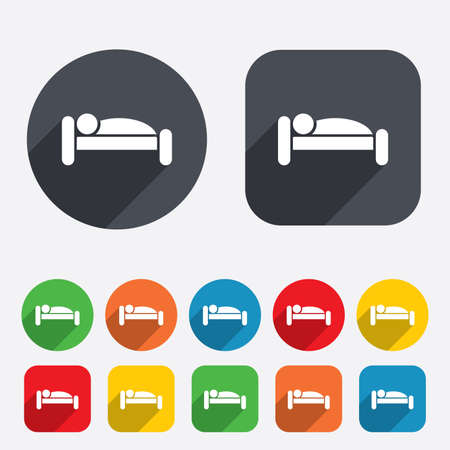 Human in bed sign icon. Travel rest place. Sleeper symbol. Circles and rounded squares 12 buttons. Vector Vector