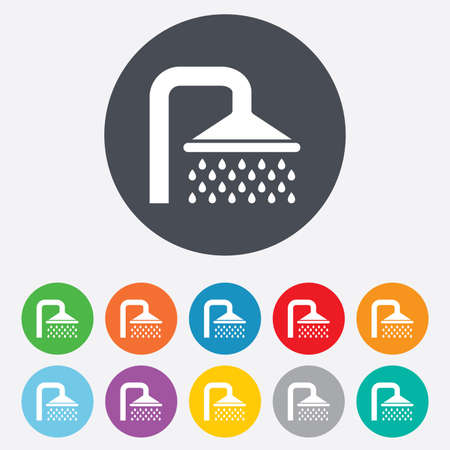 Shower sign icon. Douche with water drops symbol. Round colourful 11 buttons. Vector Vector