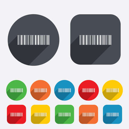 coded: Bar code sign icon. Scan code symbol. Coded word - success! Circles and rounded squares 12 buttons. Vector