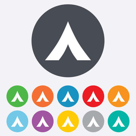 Tourist tent sign icon. Camping symbol. Round colourful 11 buttons. Vector Vector