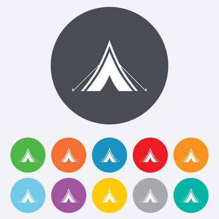 yellow adventure: Tourist tent sign icon. Camping symbol. Round colourful 11 buttons. Vector Illustration