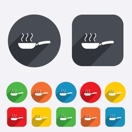 Frying pan sign icon. Fry or roast food symbol. Circles and rounded squares 12 buttons. Vector Vector