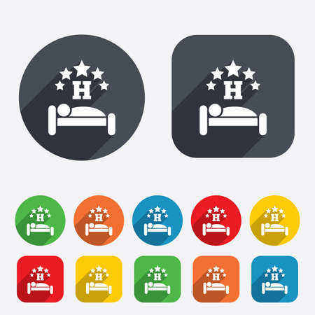 Five star Hotel apartment sign icon. Travel rest place. Sleeper symbol. Circles and rounded squares 12 buttons. Vector Vector