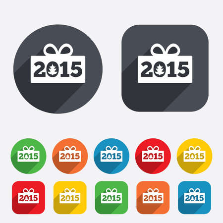 Happy new year 2015 sign icon. Christmas gift anf tree. Circles and rounded squares 12 buttons. Vector Vector