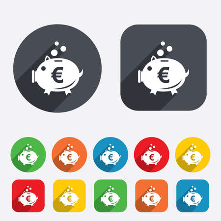 Piggy bank sign icon. Moneybox euro symbol. Circles and rounded squares 12 buttons. Vector Illustration