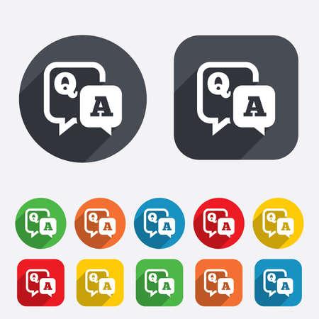control de calidad: Pregunta icono de signo respuesta. Q & A de símbolos. Los círculos y cuadrados redondeados 12 botones. Vector Vectores