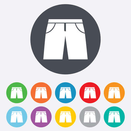 bermuda: Mens Bermuda shorts sign icon. Clothing symbol. Round colourful 11 buttons. Vector Illustration