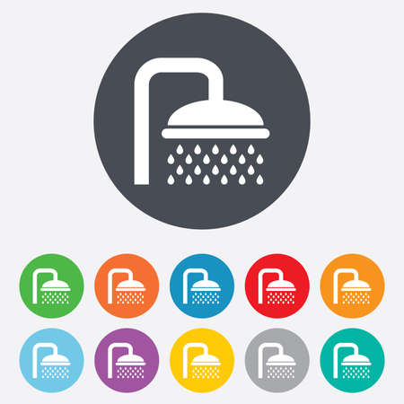 washstand: Shower sign icon. Douche with water drops symbol. Round colourful 11 buttons. Vector Illustration