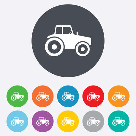 tractor sign: Tractor sign icon. Agricultural industry symbol. Round colourful 11 buttons. Vector