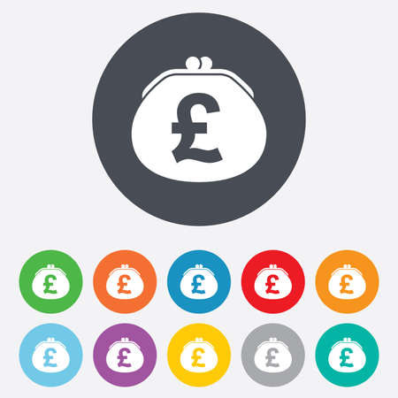 Wallet pound sign icon. Cash bag symbol. Round colourful 11 buttons. Vector Vector