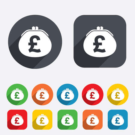 Wallet pound sign icon. Cash bag symbol. Circles and rounded squares 12 buttons. Vector Vector