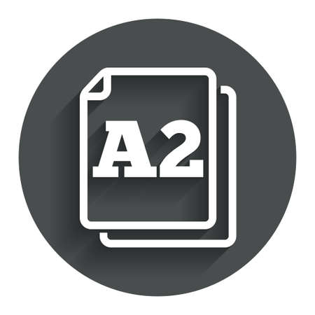 Paper size A2 standard icon. File document symbol. Circle flat button with shadow. Modern UI website navigation.
