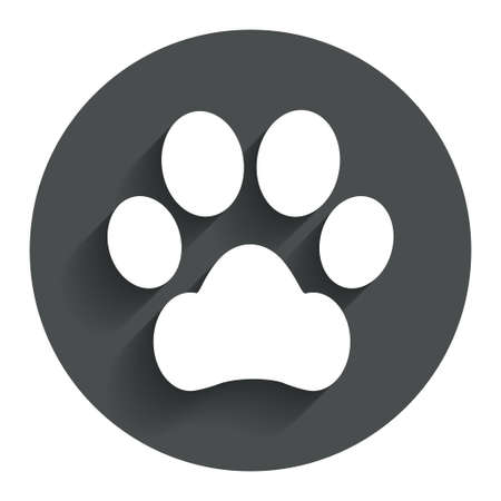 dog allowed: Dog paw sign icon. Pets symbol. Circle flat button with shadow. Modern UI website navigation.
