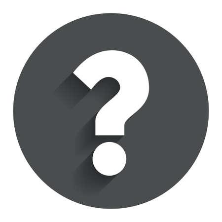 疑問符記号アイコン。シンボルを助けます。よくある質問に署名します。影を持つサークル フラット ボタン。モダン UI web サイト ・ ナビゲーショ 写真素材