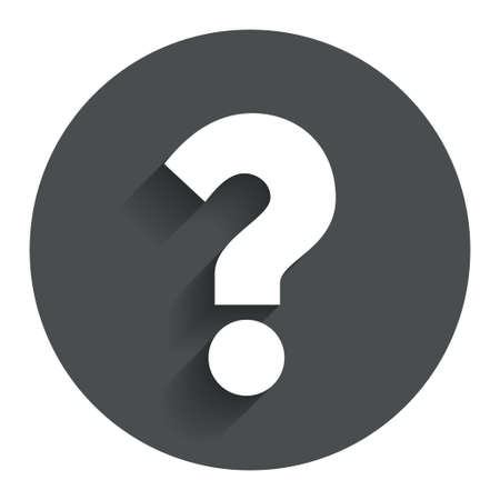Question mark sign icon. Help symbol. FAQ sign. Circle flat button with shadow. Modern UI website navigation.