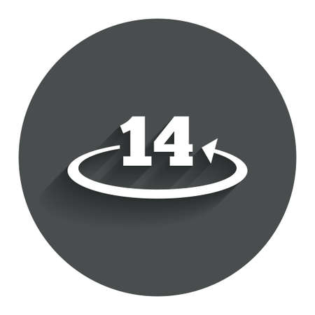 Return of goods within 14 days sign icon. Warranty exchange symbol. Circle flat button with shadow. Modern UI website navigation.
