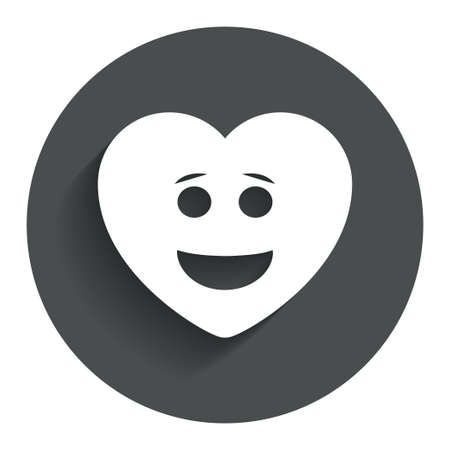Smile heart face sign icon. Happy smiley with hairstyle chat symbol. Circle flat button with shadow. Modern UI website navigation. photo