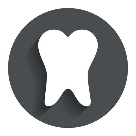 Tooth sign icon. Dental care symbol. Circle flat button with shadow. Modern UI website navigation. photo