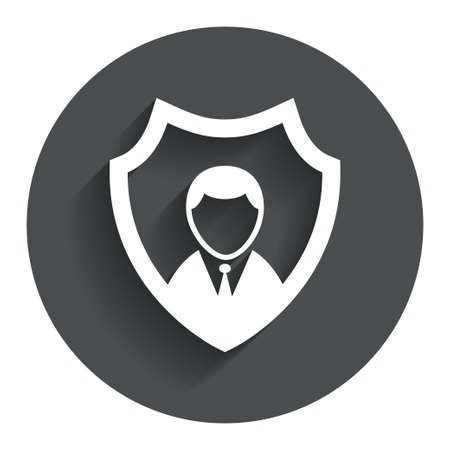 security token: Security agency sign icon. Shield protection symbol. Circle flat button with shadow. Modern UI website navigation.