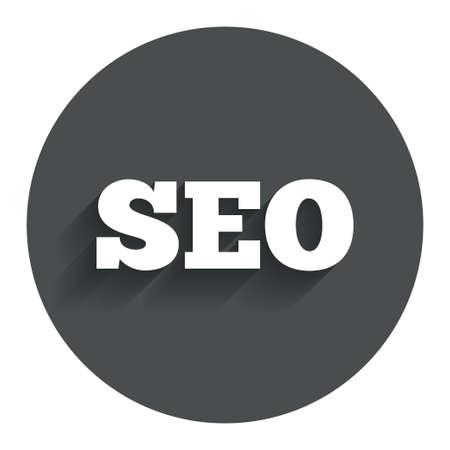 meta analysis: SEO sign icon. Search Engine Optimization symbol. Circle flat button with shadow. Modern UI website navigation.