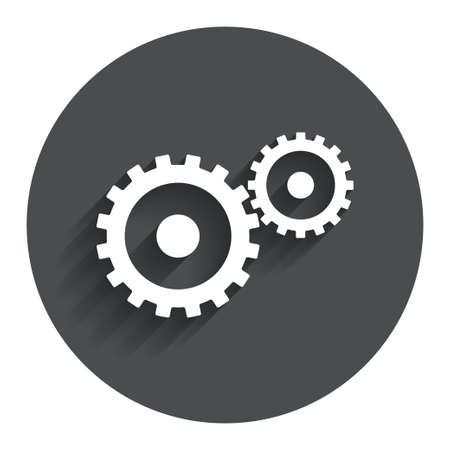 Cog settings sign icon. Cogwheel gear mechanism symbol. Circle flat button with shadow. Modern UI website navigation.