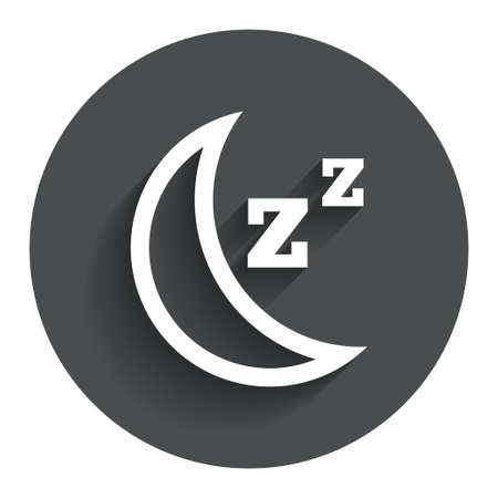 zzz: Sleep sign icon. Moon with zzz button. Standby. Circle flat button with shadow. Modern UI website navigation.