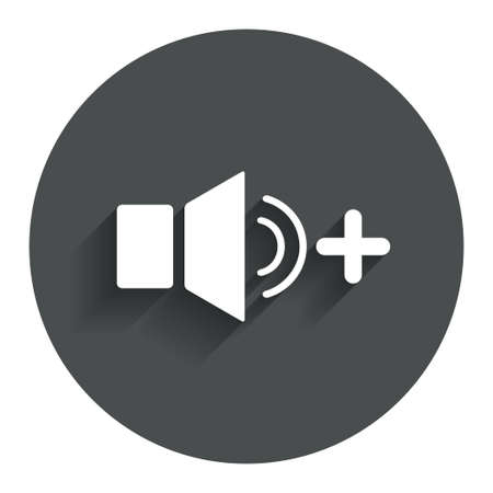 louder: Speaker volume louder sign icon. Sound symbol. Circle flat button with shadow. Modern UI website navigation.