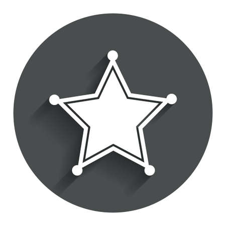 security token: Star Sheriff sign icon. Police button. Sheriff symbol. Circle flat button with shadow. Modern UI website navigation.