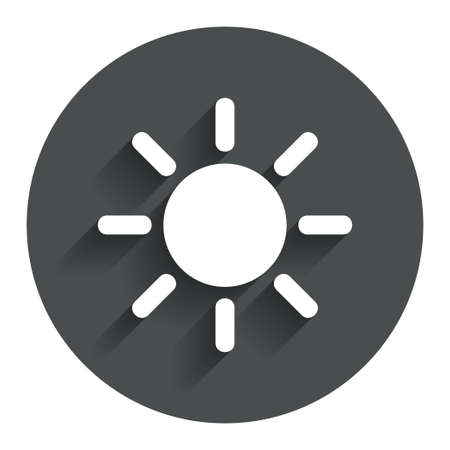 solarium: Sun sign icon. Solarium symbol. Heat button. Circle flat button with shadow. Modern UI website navigation. Stock Photo