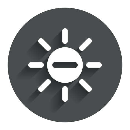 brightness: Sun minus sign icon. Heat symbol. Brightness button. Circle flat button with shadow. Modern UI website navigation.