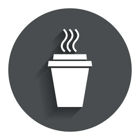 Take a Coffee sign icon. Hot Coffee cup. Circle flat button with shadow. Modern UI website navigation. photo