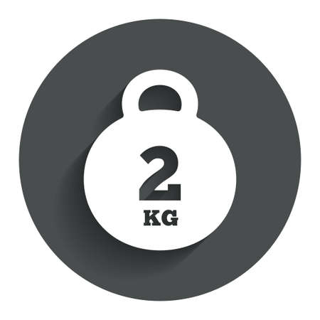 kilogram: Weight sign icon. 2 kilogram (kg). Envelope mail weight. Circle flat button with shadow. Modern UI website navigation. Stock Photo