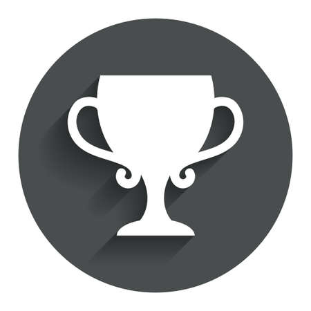 awarding: Winner cup sign icon. Awarding of winners symbol. Trophy. Circle flat button with shadow. Modern UI website navigation. Stock Photo