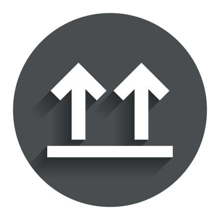 This side up sign icon. Fragile package symbol. Arrows. Circle flat button with shadow. Modern UI website navigation. photo