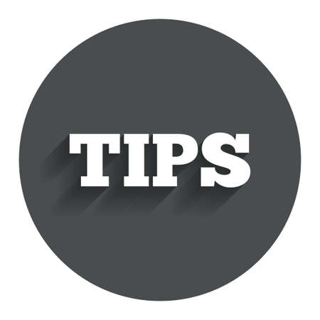 restaurant bill: Tips sign icon. Service money symbol. Circle flat button with shadow. Modern UI website navigation.