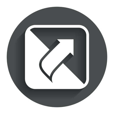 Turn page sign icon. Peel back the corner of the sheet symbol. Circle flat button with shadow. Modern UI website navigation. photo