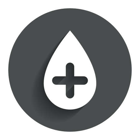 Water drop with plus sign icon. Softens water symbol. Circle flat button with shadow. Modern UI website navigation.
