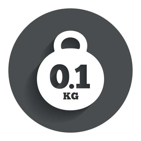 01: Weight sign icon. 0.1 kilogram (kg). Envelope mail weight. Circle flat button with shadow. Modern UI website navigation. Stock Photo
