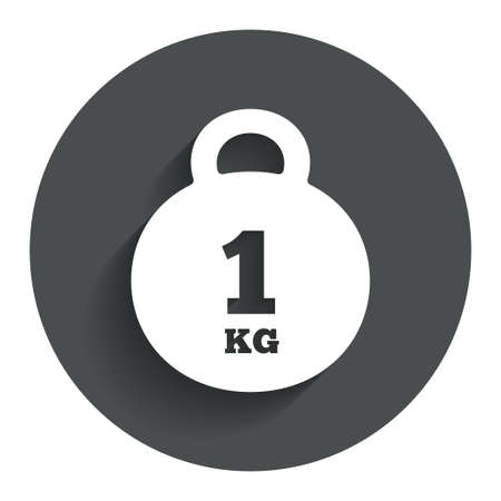 kilogram: Weight sign icon. 1 kilogram (kg). Envelope mail weight. Circle flat button with shadow. Modern UI website navigation. Stock Photo