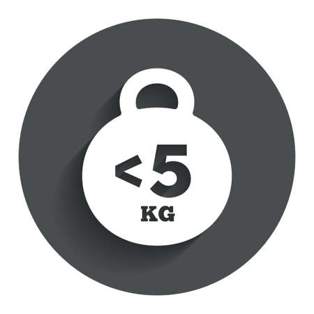 fewer: Weight sign icon. Less than 5 kilogram (kg). Sport symbol. Fitness. Circle flat button with shadow. Modern UI website navigation.