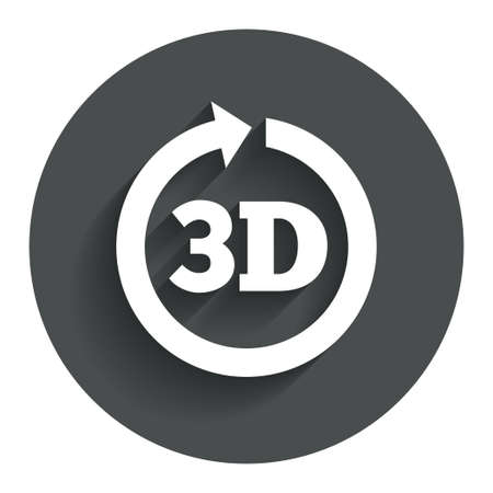 3D sign icon. 3D New technology symbol. Rotation arrow. Circle flat button with shadow. Modern UI website navigation. photo
