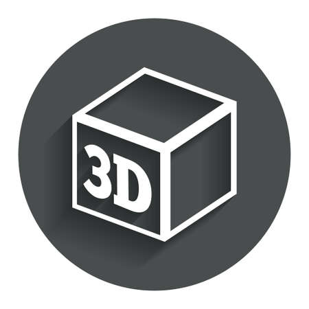 3D Print sign icon. 3d cube Printing symbol. Additive manufacturing. Circle flat button with shadow. Modern UI website navigation. photo